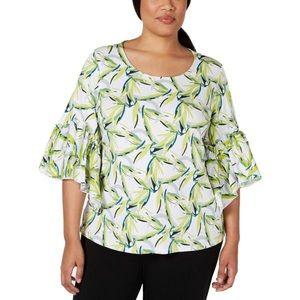 NWT Alfani Womens Plus Printed Bell Sleeves Blouse